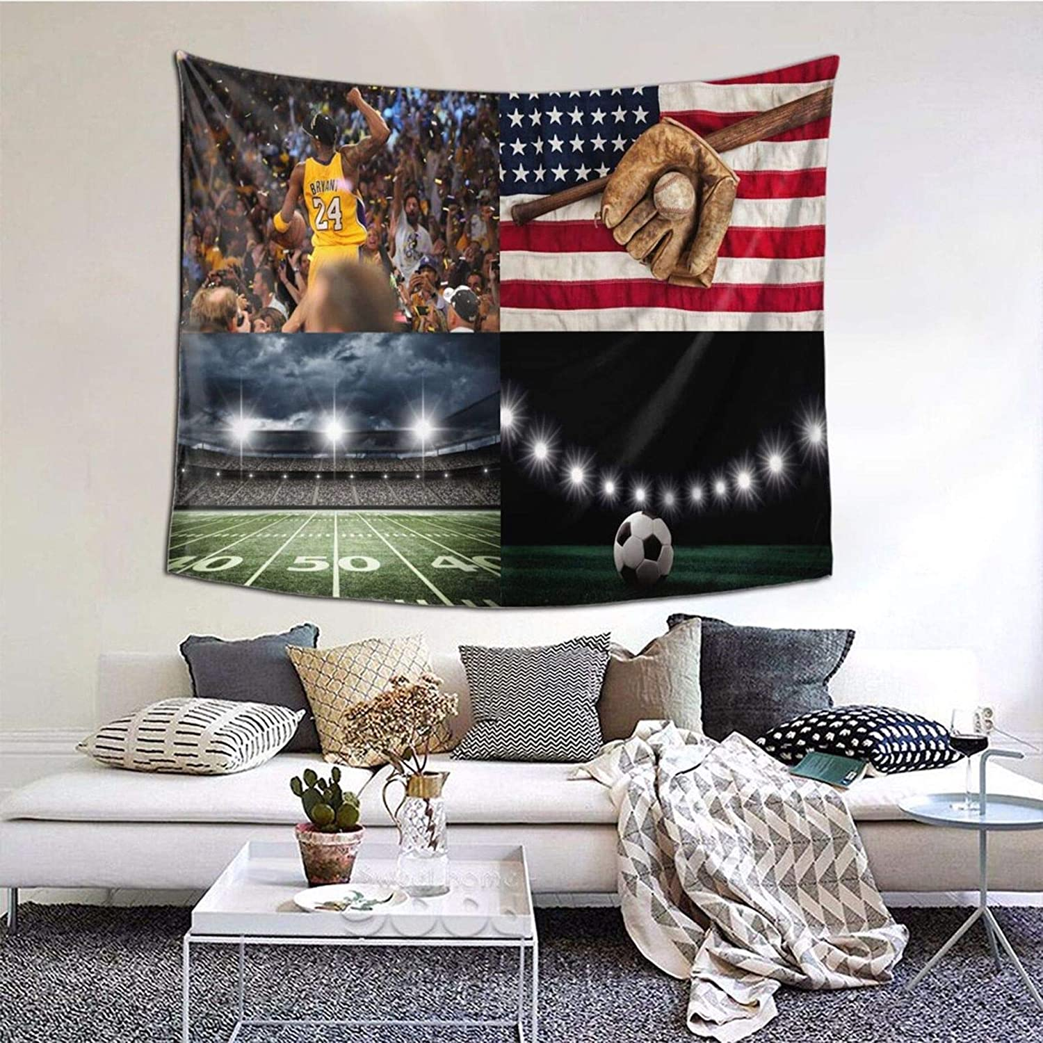 Sports themed room decor for boys room decro basketball tapestry Baseball soccer tapestry football Home Decor Wall Hanging for Living Room Bedroom Dorm 40x60 Inches