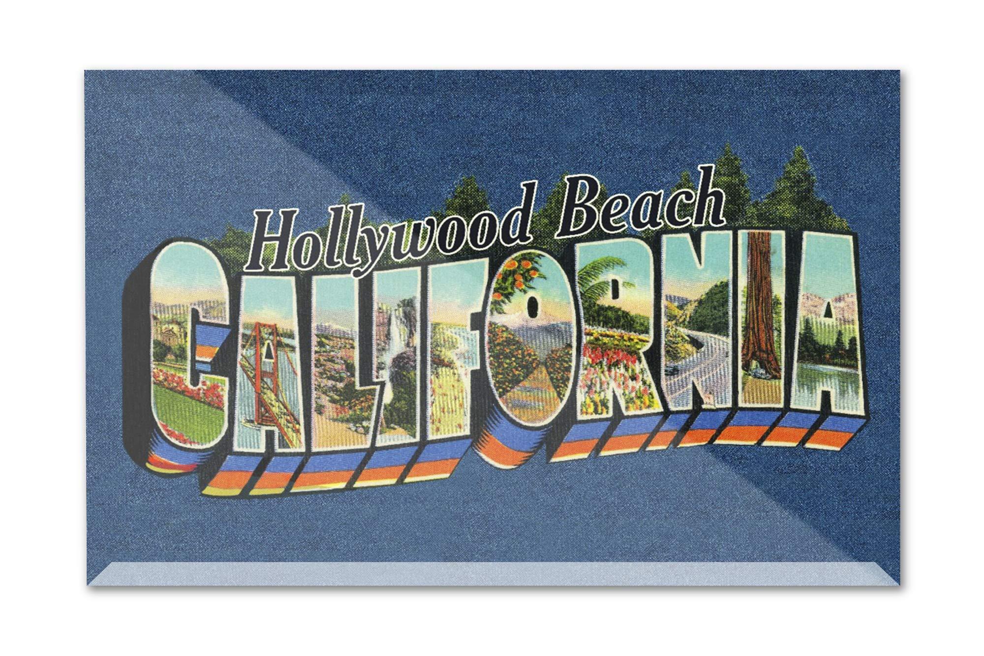 Hollywood Beach, California - Greetings - Contour - Vintage Postcard 99625 (9x6 Acrylic Photo Block Gallery Quality)