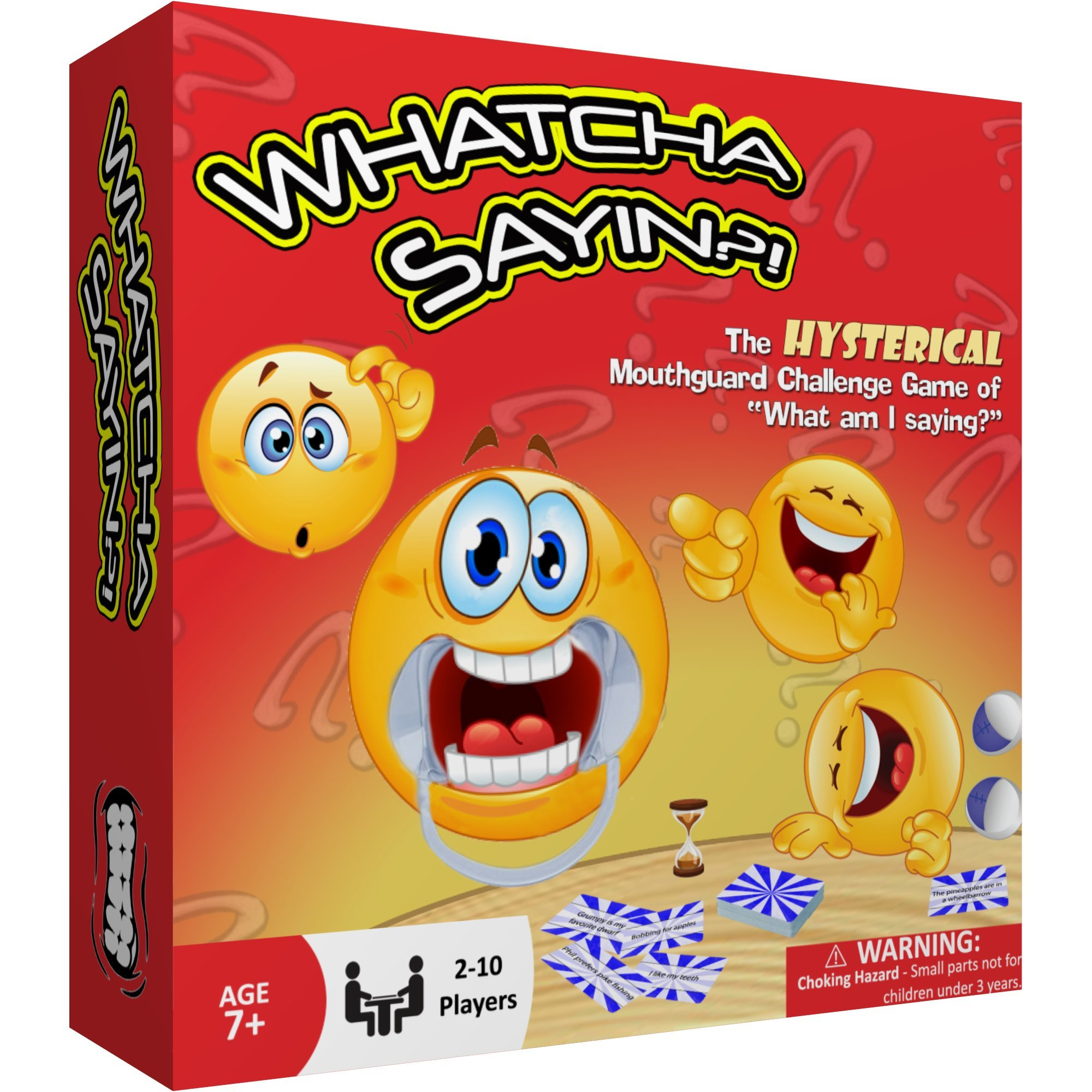 Whatcha Sayin - Hysterical New Party Game - Fun for All Ages - Speak Out Loud with 210 Phrase Cards and 10 Cheek Retractors - Mouthguard Challenge Game