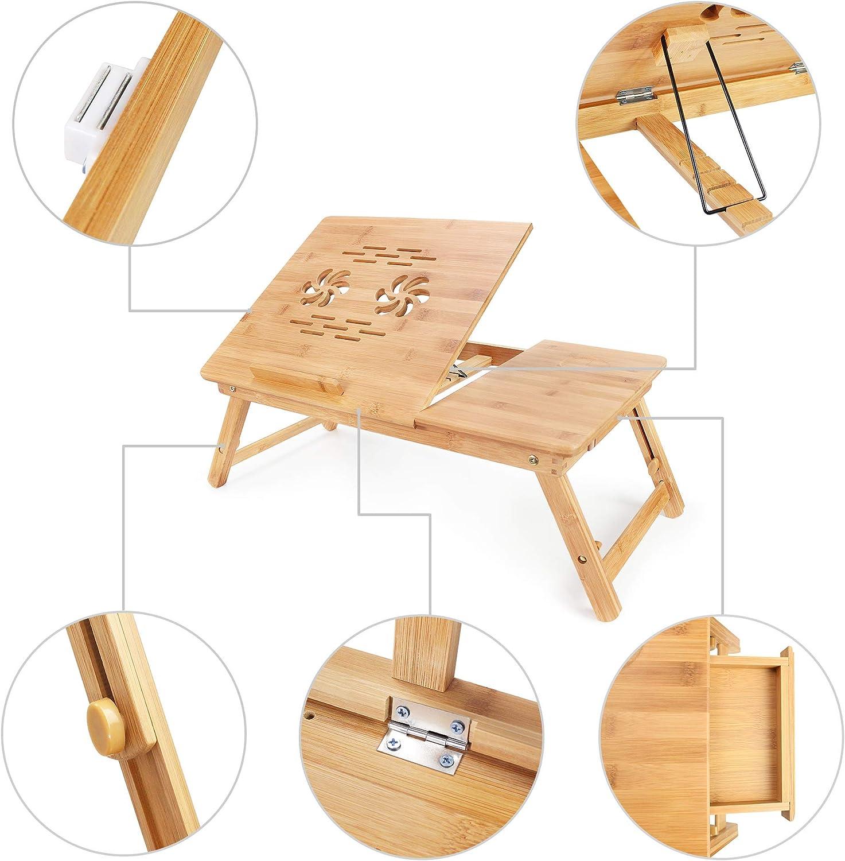 Leogreen - Table Portable pour Ordinateur, Support pour Pc Portable en Bambou, Bureau réglable avec Trous d'aération, Matériau: Bambou