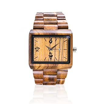 Wooden Watch for Men - Koa Wood/Sapphire Crystal Dial Window/Wood Watch Band