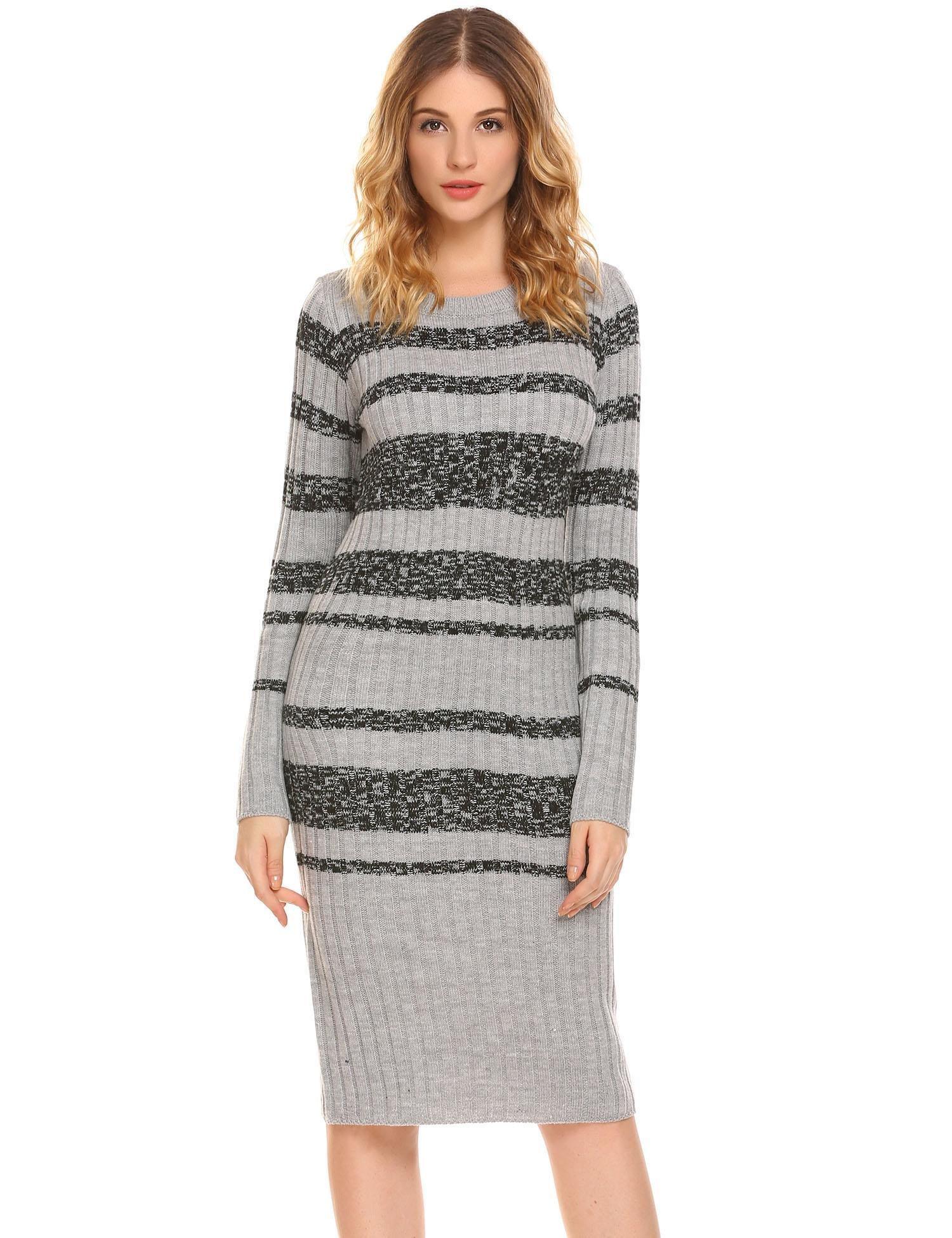 Women Long Sleeve Striped Slim Fit Cotton Knit Knee Length Pullover Sweater Dress,Grey,Medium