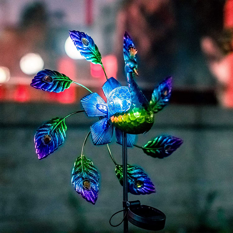 VEWOSTAR Solar Wind Spinner Outdoor Metal Peacock Solar Light for Garden Decor Yard Windmills
