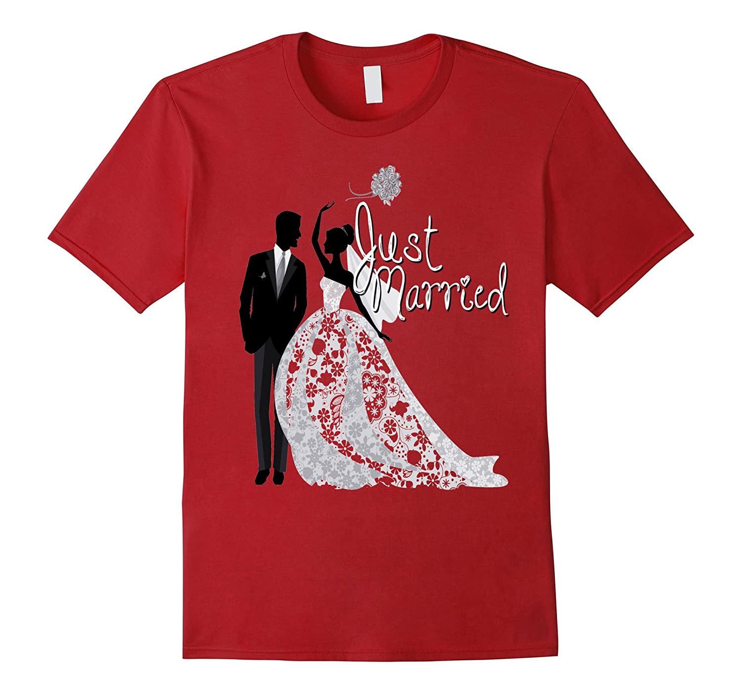 55043a4af4 Just Married Shirt Wedding Gift Honeymoon Bride Groom Couple-RT ...
