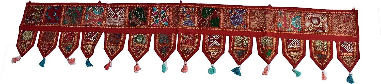 GANESHAM Cotton Ethnic Vintage Patchwork Door Hanging Valances Window Valances Hand Embroidered Patchwork Toran Boho Bohemian Decor Living Room Decor Wall Decor (Red, L-203 X W-50 cm)