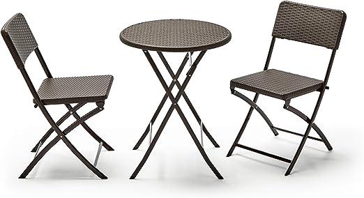 KitGarden - Conjunto Balcón/Terraza Plegable, 1 mesa redonda + 2 sillas, Marrón Imitación Ratán, Lux Balcon 60R: Amazon.es: Jardín