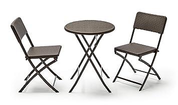KitGarden - Conjunto Muebles Terraza/Jardín Plegable Imitación Ratán, 1 Mesa + 2 Sillas, Marrón, Lux Balcón