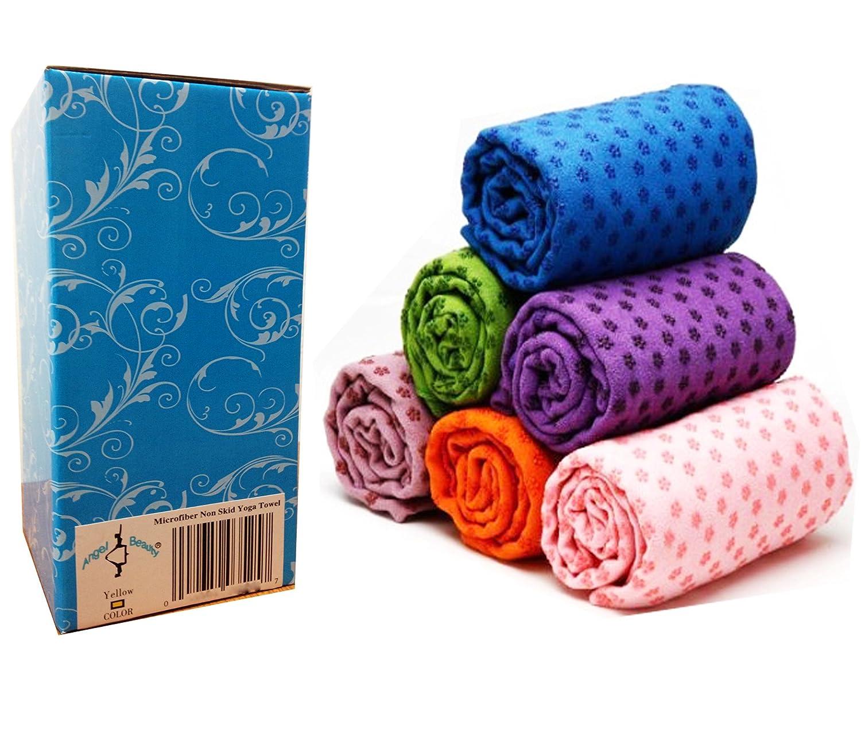 Mikrofaser Non Skid Yoga Handtuch Yoga Matte 61 x 182,9 cm mit Tragetasche + Geschenk-Box lila Farbe
