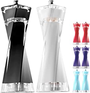 MITBAK Acrylic Black/White Salt and Pepper Grinders Set   Sea Salt and Pepper Mills Easy to Use and Equipped with Adjustable Coarseness And Ceramic Mechanism  Unique Kitchen   Premium Quality