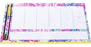 09dd1767978a10 Lilly Pulitzer Undated Weekly Planner Desk Pad and Black Ink Pen | Notepad  Includes 52 Sheets