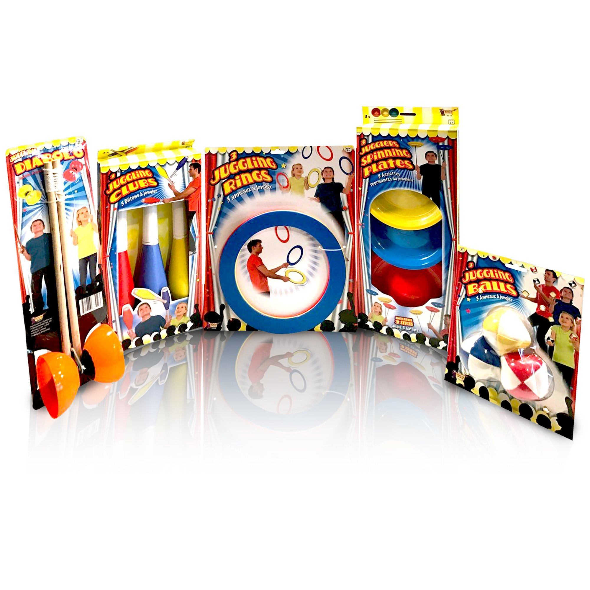 Beginners Juggling Kit - Balls (3), Pins (3), Plates (3), Rings (3), Chinese Yoyo Diabolo Advanced Set Cool Fun Unique Toy Gift Set For Boys and Girls