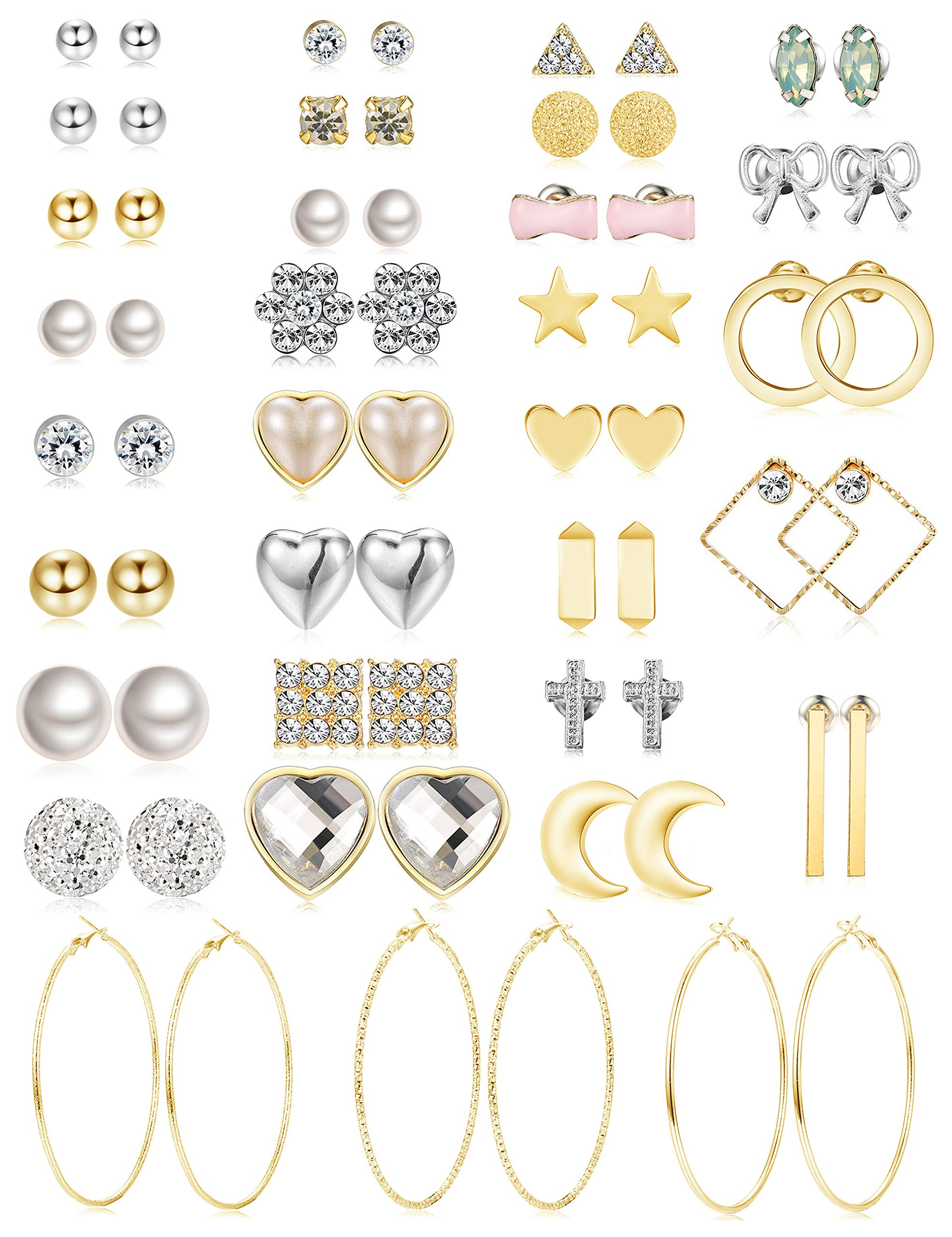 Jstyle 32 Pairs Assorted Multiple Stud Earrings for Women Girls Simple Cute Big Hoop Earrings Set (A: 32pairs) by Jstyle