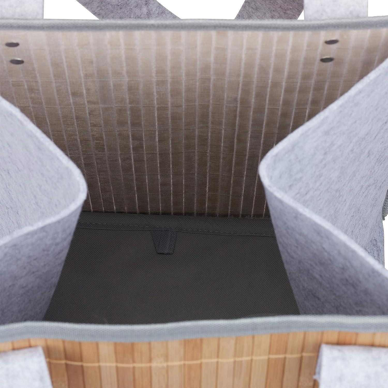 45 x 35 x 32 cm Marr/ón//Gris Bamboo Relaxdays Cesto Ropa Sucia Plegable Multiusos con Asas