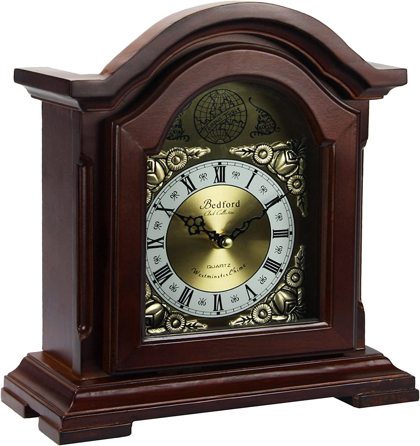 A picture of Bedford Clock Collection Redwood Mantel Clock with Chimes  , which is one of the best mantel clocks out there