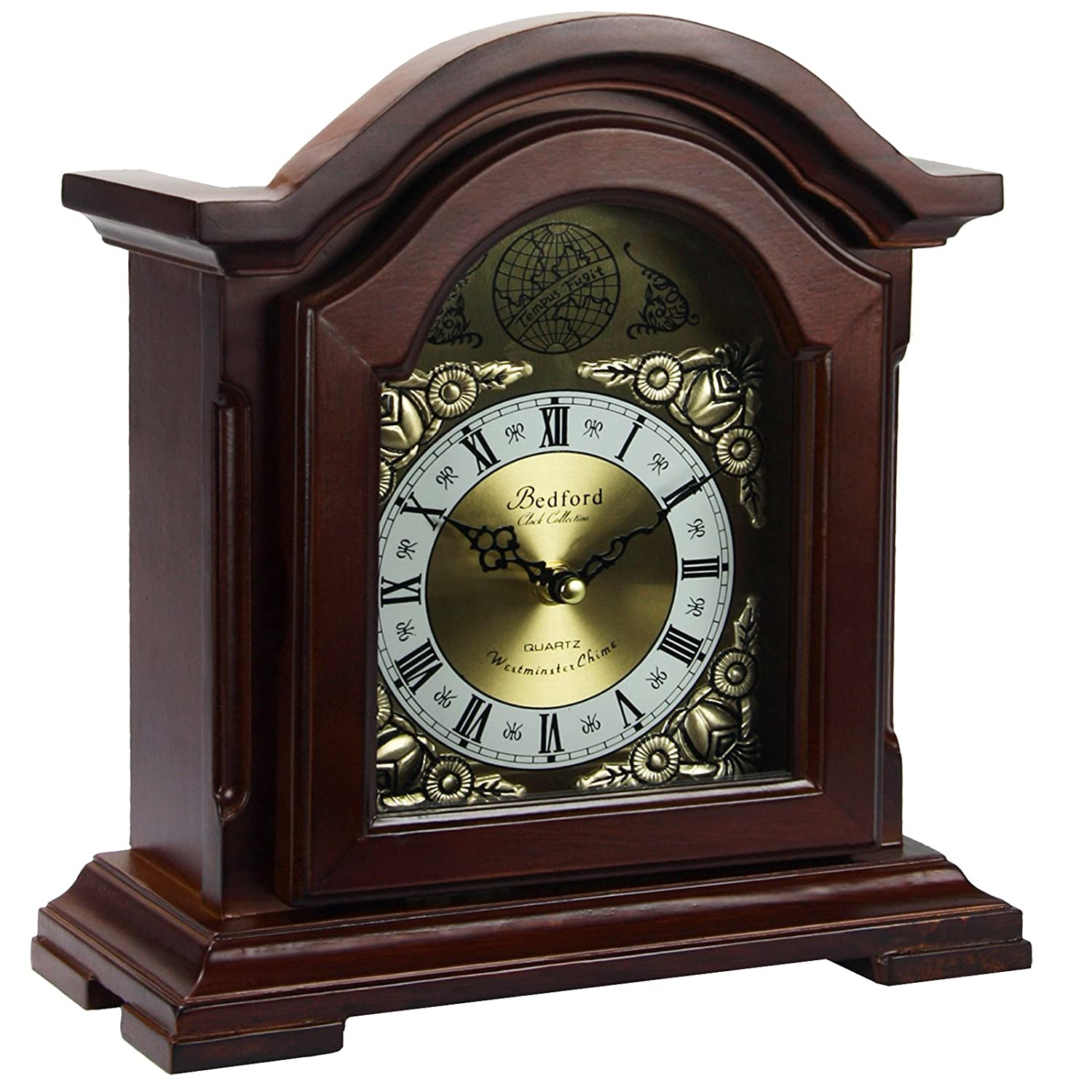 Bedford Clock Collection Redwood Mantel Clock with Chimes BED6003