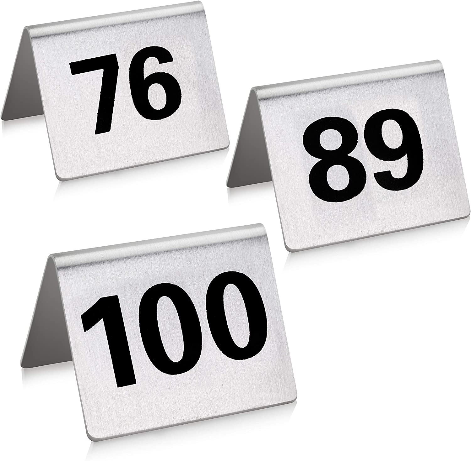 New Star Foodservice 27655 Stainless Steel Tent Style Table Number Card, 76-100, 1.5