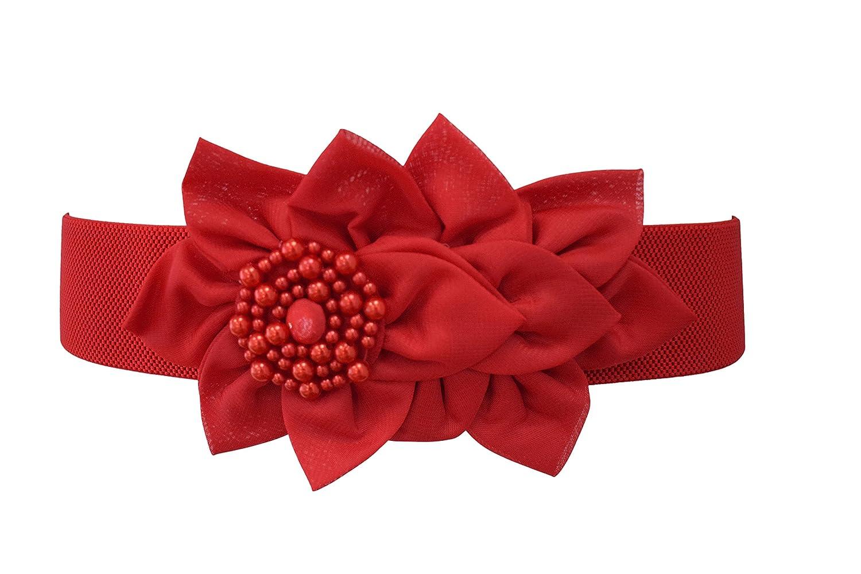 Nanxson Women's Elastic Ladies Fashion Dress Casual Belt with Decorative Flower PDW0050