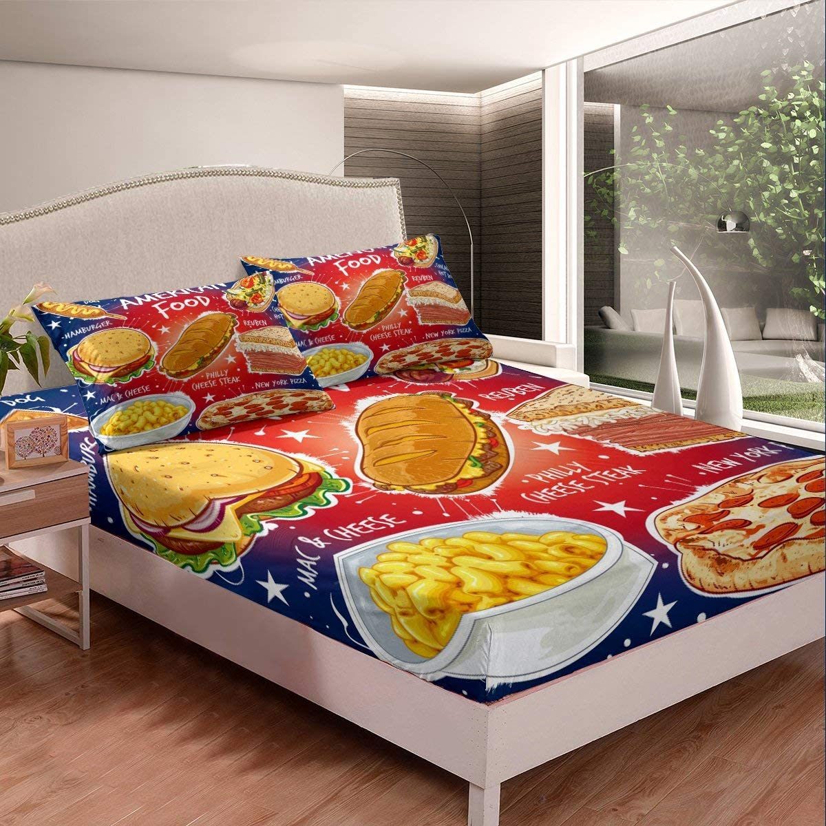 Erosebridal Children Fast Food Bedding Set Pizza Hamburger Sheet Set Twin Size for Kids Boys Girls Teens American Breakfast Fitted Sheet Sandwich Food Theme Bed Sheet Room Decoration