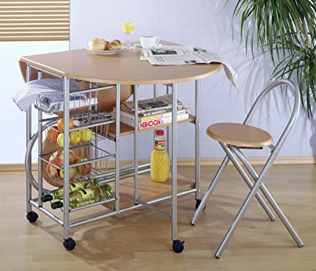 Küchenbar, klappbar mit 2 Stühlen - Küchentisch: Amazon.de: Küche ...