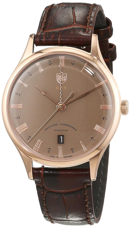 Dufa Deutsche Uhrenfabrik Unisex-Armbanduhr Analog Quarz Leder Weimar GMT DF-9006-09 Schweizer