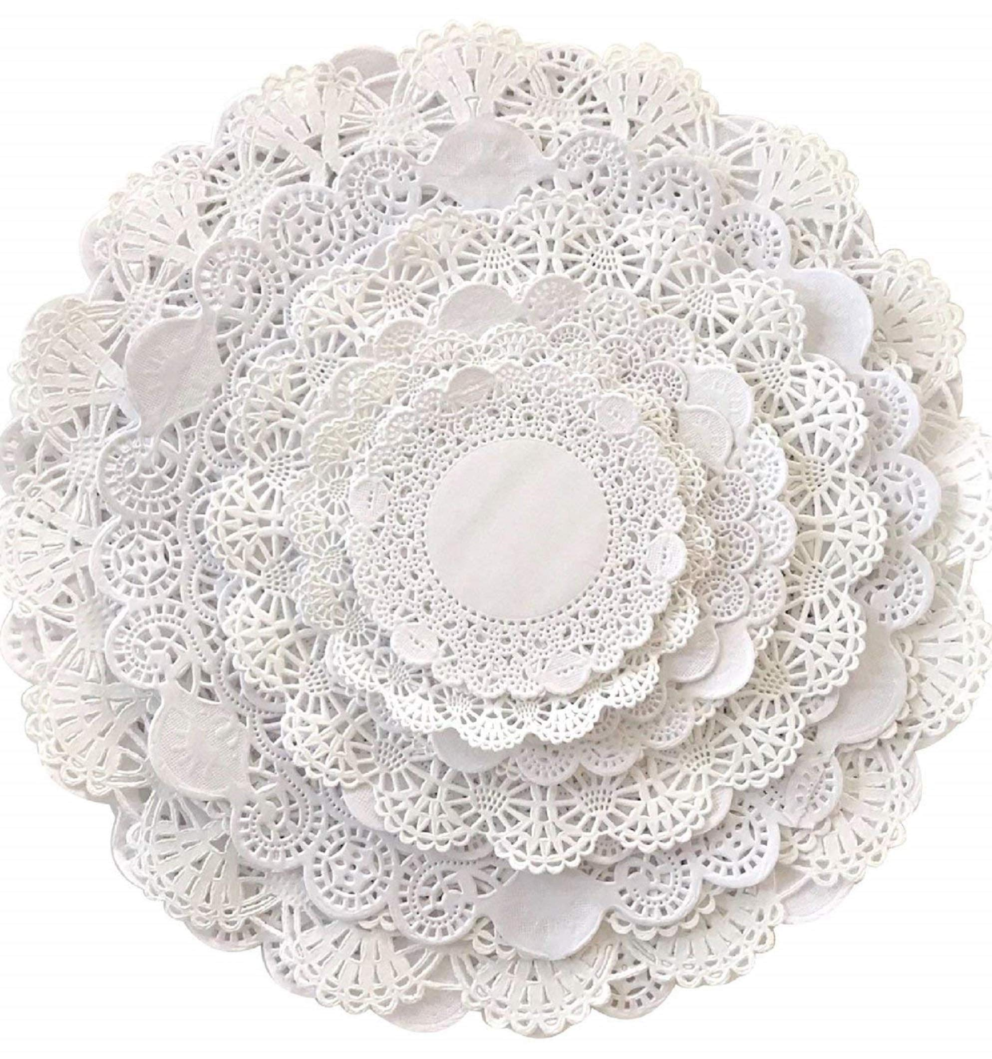 Variety Pack 120 Paper Lace Doilies Sizes 4, 5, 6, 8, 10 and 12 inch; Assorted Pack great for so many projects