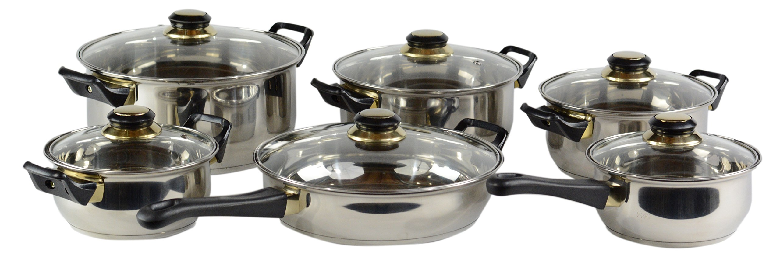 Gourmet Chef Professional, Stainless Steel, Encapsulated Base, Bakelite Handles, Vented Glass Lids, Pots and Pans Set Cookware Set, 12-Piece