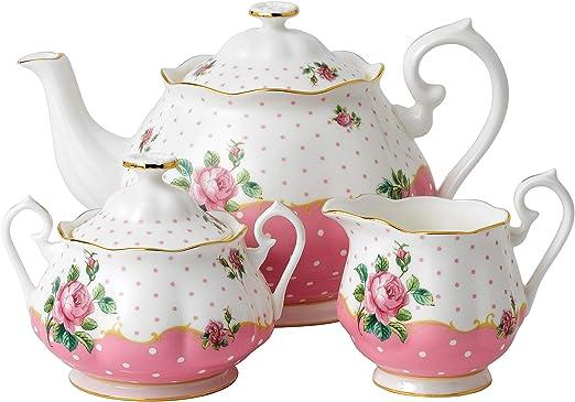 Royal Albert 3-Piece Set Teapot, Sugar /& Creamer NCR Pink