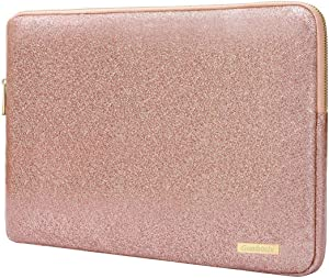 Laptop Sleeve Case Bag 13inch- Waterproof Glitter PU Leather Protective Cases Cover Compatible 13.3 Inch MacBook Air Pro Retina /Surface Laptop, Rose Gold