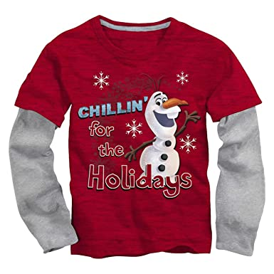 8f60dde5eb23 Amazon.com: Disney Frozen Little Boys' Olaf Holiday Long Sleeve Tee ...