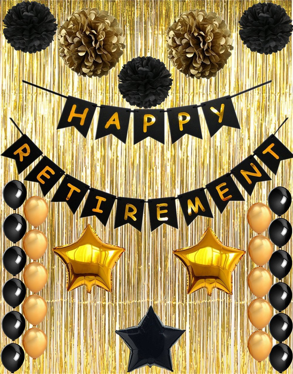 Happy Retirement Party Decorations, Vagski Black and Gold Happy Retirement Banner with Latex Balloons, Pom Poms Flowers and Gold Foil Curtain, Perfect Party Supplies for Retirement Decorations VAG010A