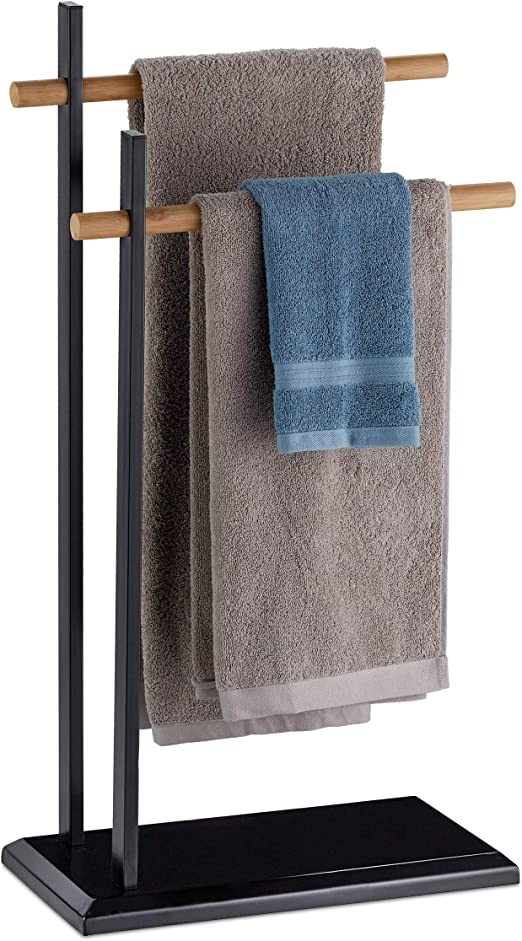 Relaxdays Handtuchhalter zweiarmig Bambus Handtuchstangen Handtuchständer Metall HBT 85 5x45x22 5 cm schwarz natur