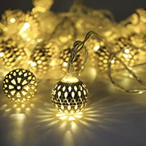 LED Globe String Lights, Moroccan Ball String Lights, 40 Sliver Metal Balls, Battery Operated, Decor for Home, Bedroom, Party, Wedding, Warm White