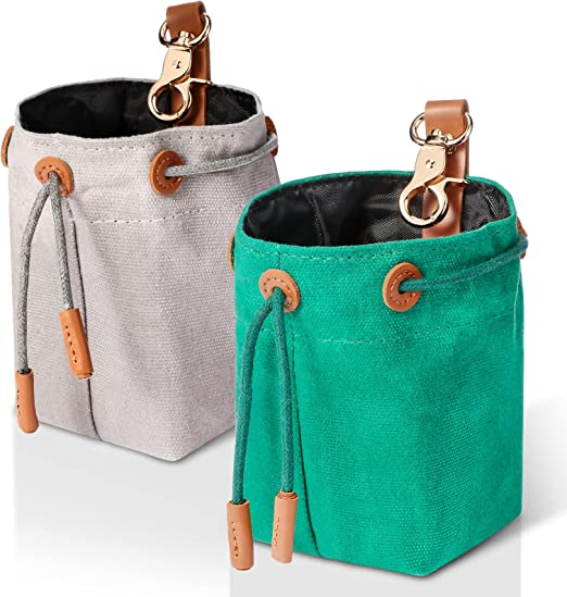 2 Pieces Dog Treat Pouch Portable Dog Training Treats Bag Dog Treat Bags Training Pouch with Drawstring Sealing Method Metal Clip for Training Small to Large Dogs Easily Carries (Gray, Green)