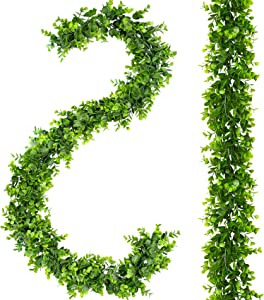 2 Pack Eucalyptus Garland 6 Ft Artificial Greenery Garland Fake Ivy Vines Wedding Backdrop Arch Wall Decor Hanging Plants for Home Wedding Festival Party Table Mantle Decor