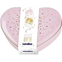 Labellino Geschenkset in der Herzdose, Pflegeset mit Vanilla Cake Pop und Raspberry & Red Apple Lippenbalsam, Weihnachtsgeschenke Set für gepflegte Lippen