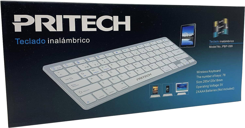 PRITECH - Teclado Español Ultra-Delgado Inalámbrico Bluetooth para iOS (iPhone, iPad) y MacOs (Macbook, Mac Mini, iMac, Mac Pro) (White)