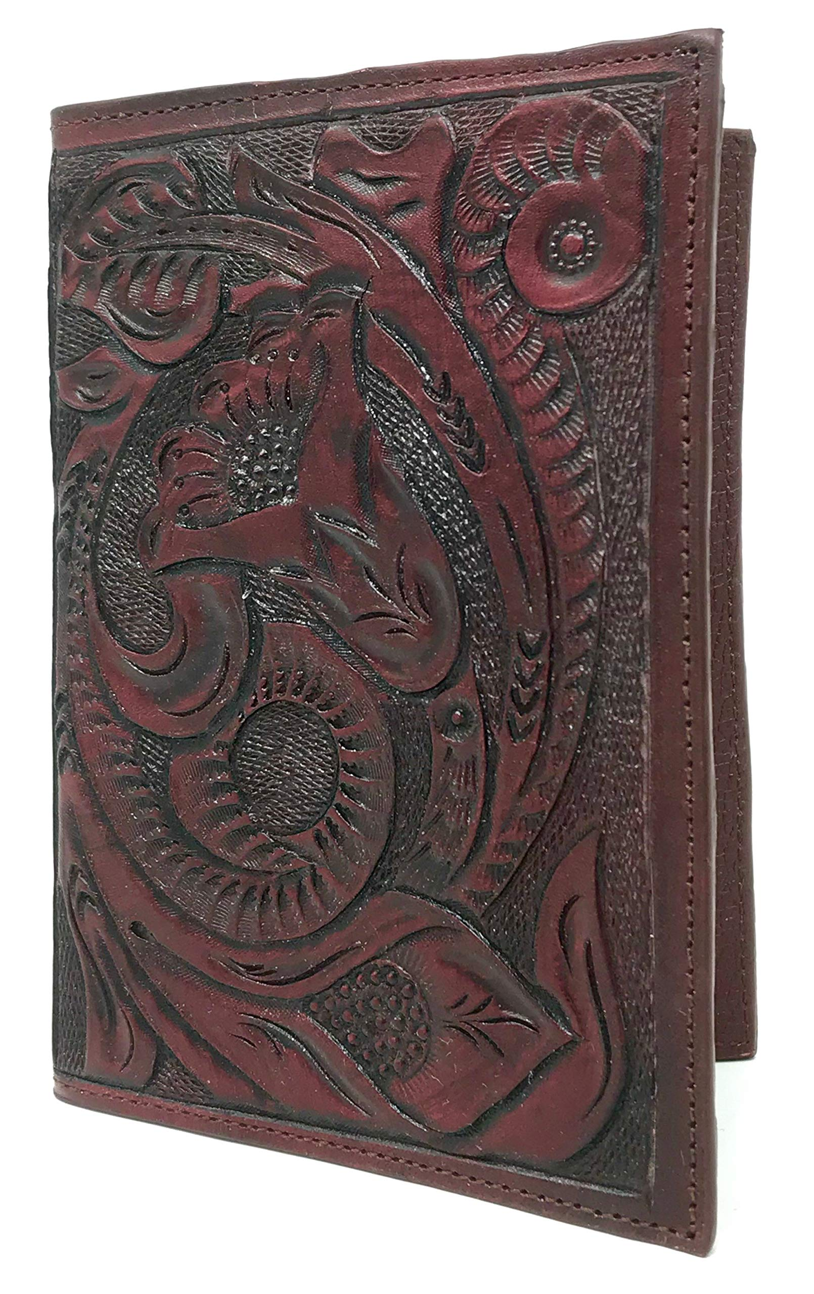 Mauzari Passport Holder for Women Hand Tooled Leather Designer Vintage (Mahogany)