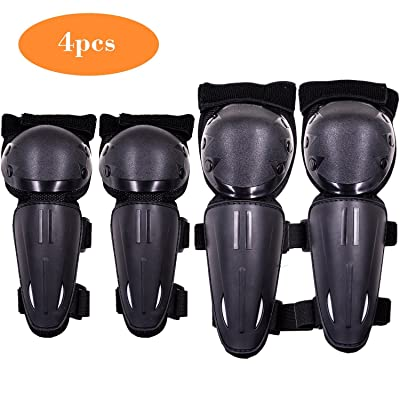 Webetop Kids Dirt Bike Knee And Elbow Pads Shin Guards Youths Protective Gear Set 4pc (Black): Automotive