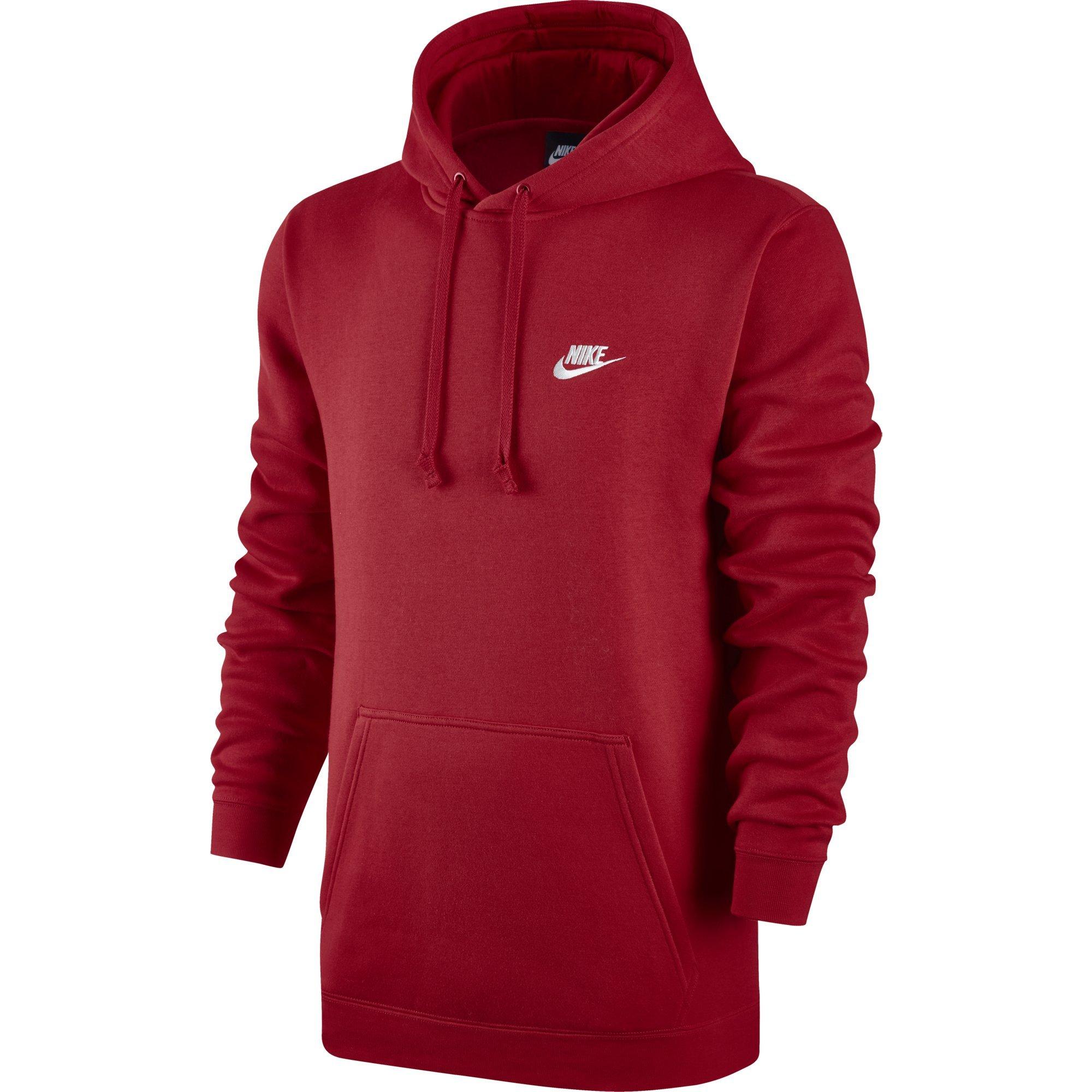 Men's Nike Sportswear Club Pullover Hoodie, Fleece Sweatshirt for Men with Paneled Hood, University Red/University Red/White, S