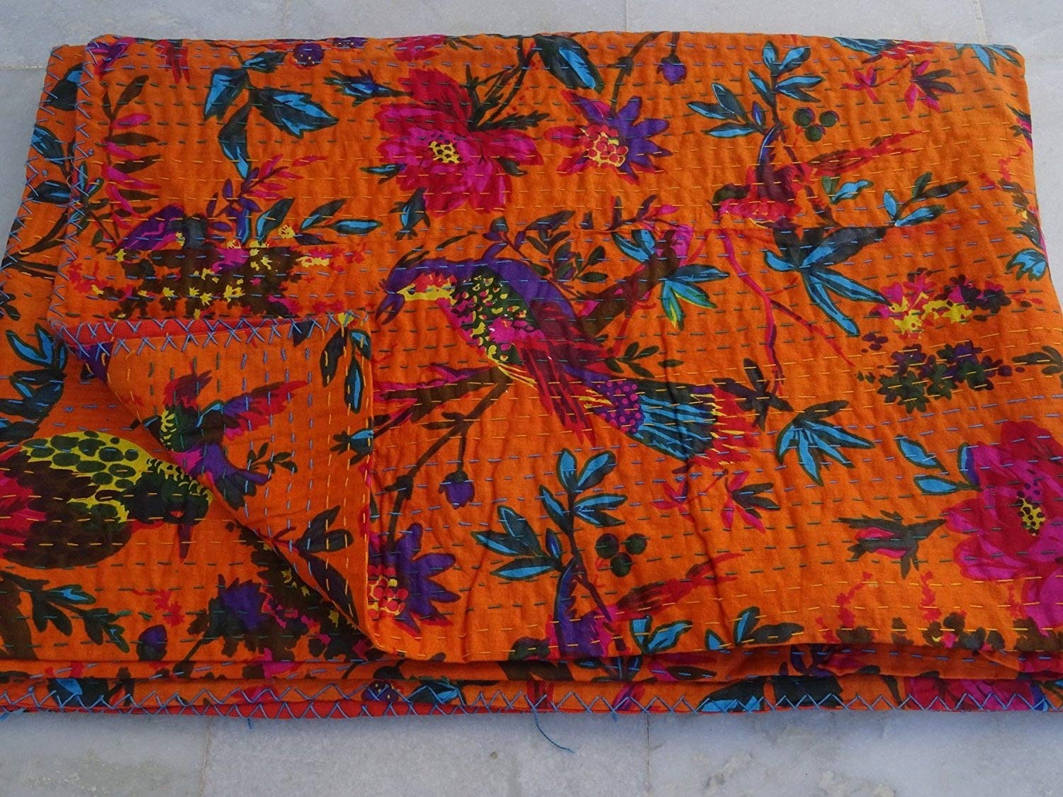 Tribal Asian Textiles Indian Reversible Kantha Quilt Handmade Bedspread Twin Size Throw Bird Print