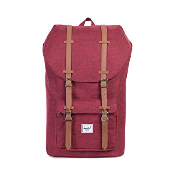 5bc359b4a Amazon.com | Herschel Little America Backpack - Winetasting Crosshatch/Tan  Synthetic Leather | Casual Daypacks