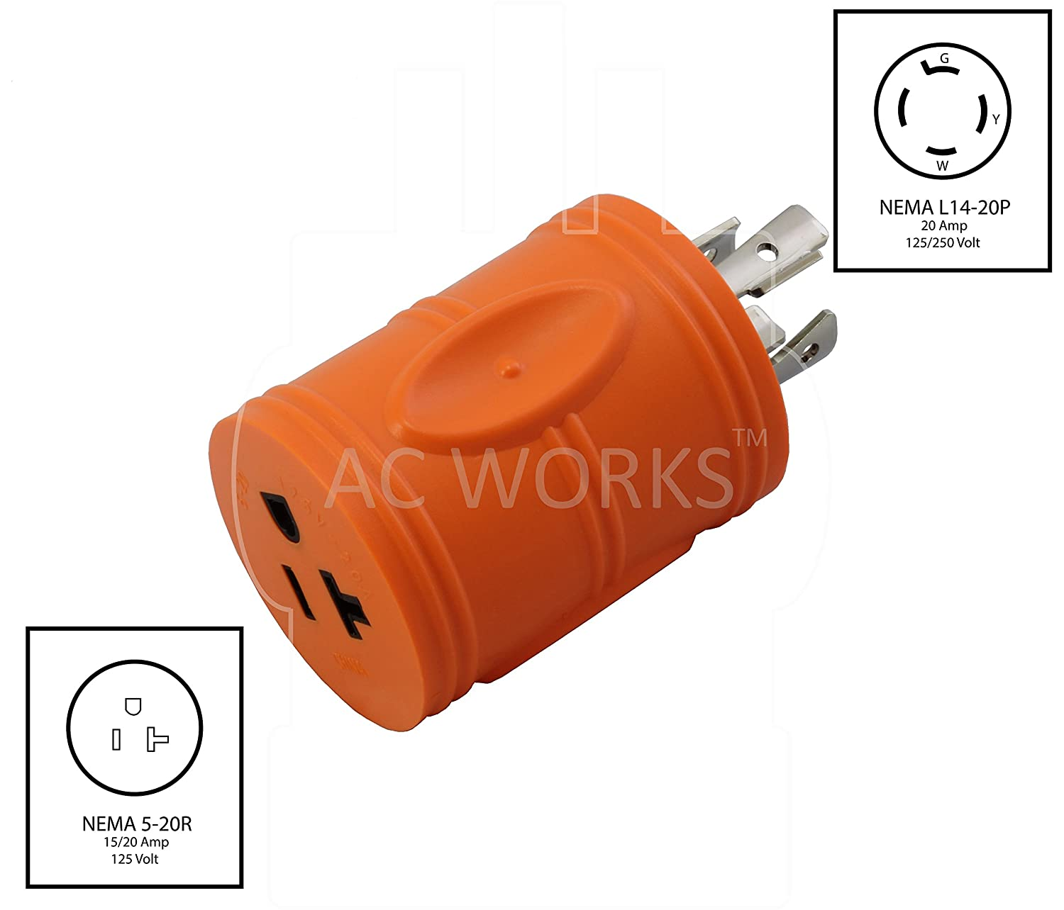 Ac Works Adl1420520 Locking Adapter L14 20p 20a 125 250volt 4prong Nema 20r Wiring Diagram Male Plug To 5 15 Regular Household 20amp Female Connector