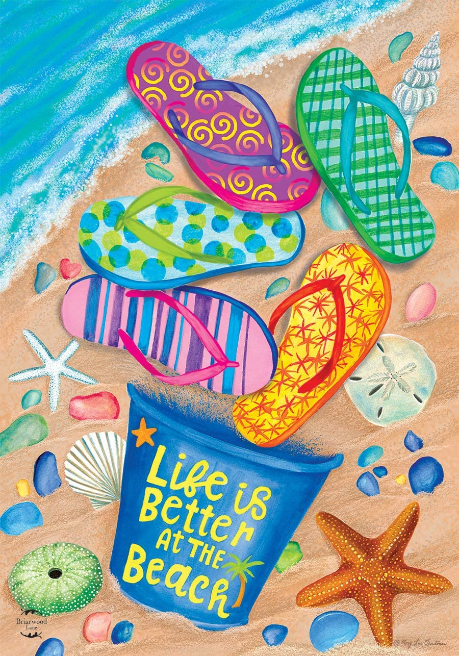 """Briarwood Lane Better at The Beach Summer Garden Flag Flip Flops Nautical 12.5"""" x 18"""""""