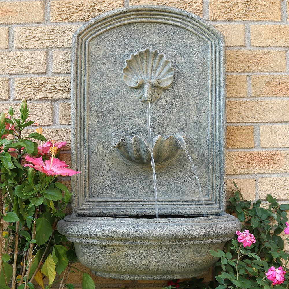 Sunnydaze Seaside Outdoor Wall Fountain, with Electric Submersible Pump 27-Inch, French Limestone Finish