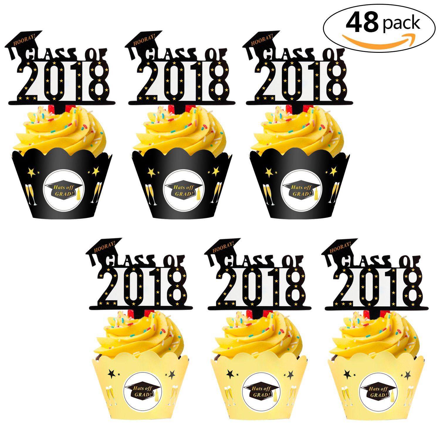 Graduation Cupcake Toppers Wrappers(48pack), Class of 2018 with Cap