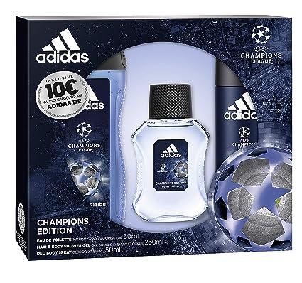 3967d9e93092 Adidas Profumo Set UEFA Champions League Edition Eau de Toilette 50 ML +  DEO SPRAY 150 ML + Show ergel 250 ML + Voucher, 450 ML: Amazon.it: Bellezza