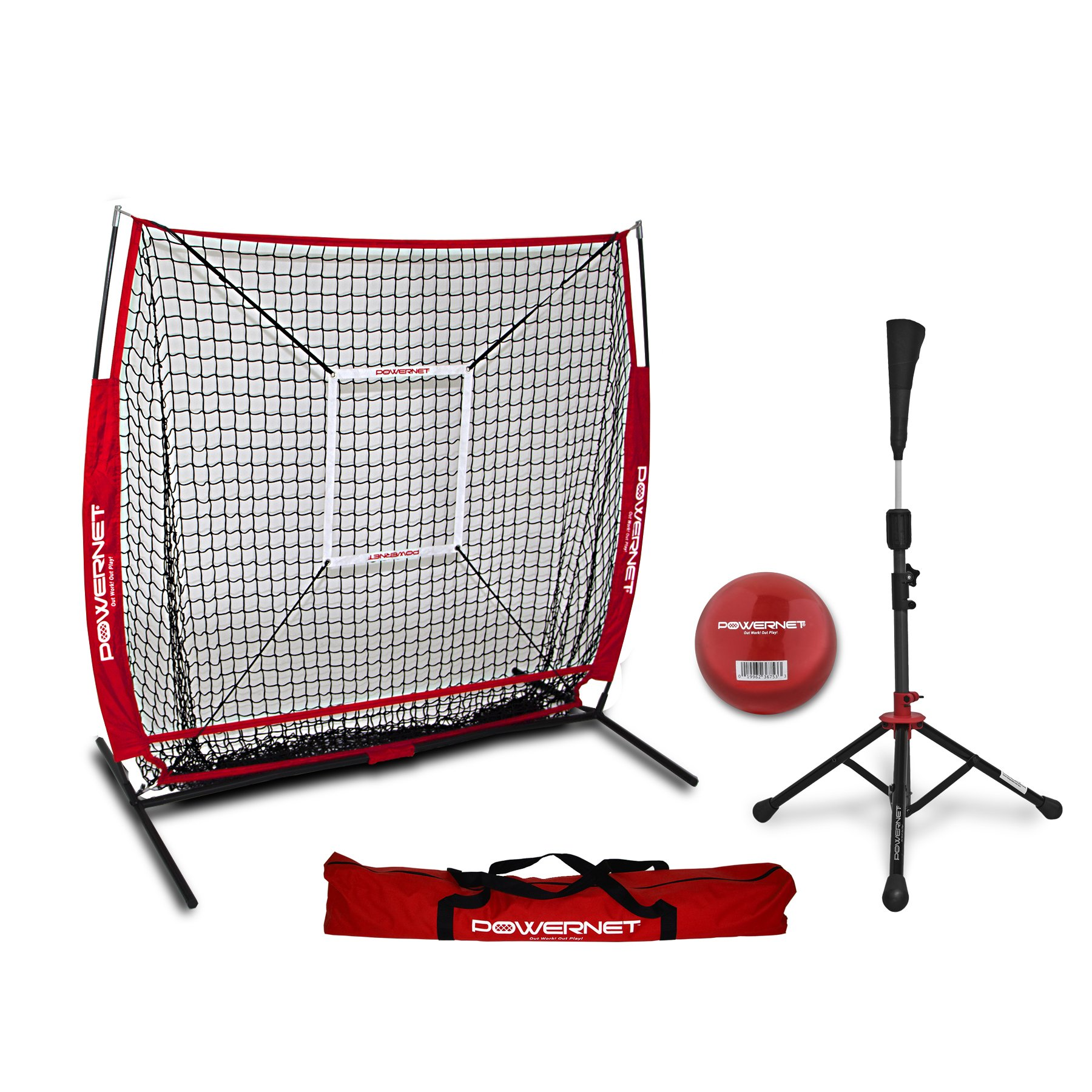 PowerNet 5x5 Practice Net + Deluxe Tee + Strike Zone + Weighted Training Ball Bundle (Red) | Baseball Softball Pitching Batting Coaching Pack | Work on Pitch Accuracy | Build Plate Confidence