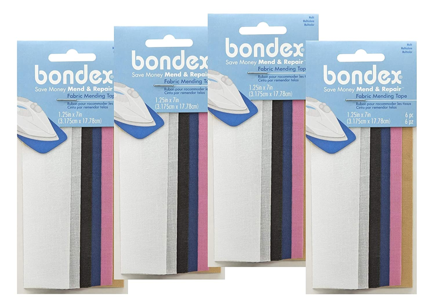 Pink Navy Black Bondex Mend and Repair with No Sew Iron-On Patch Fabric Mending Tape 1.25x7 3pk 6pc 3.175cm x 17.78cm White Beige Tan
