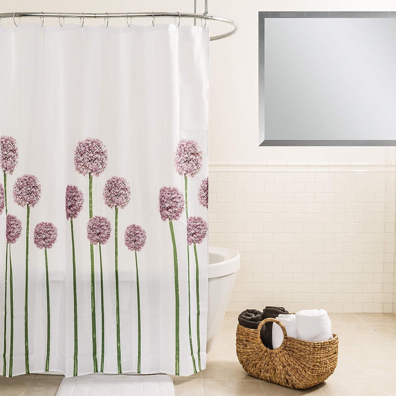 "Splash Home Allium Polyester Fabric Shower Curtain, 70"" x 72"", Lavender"
