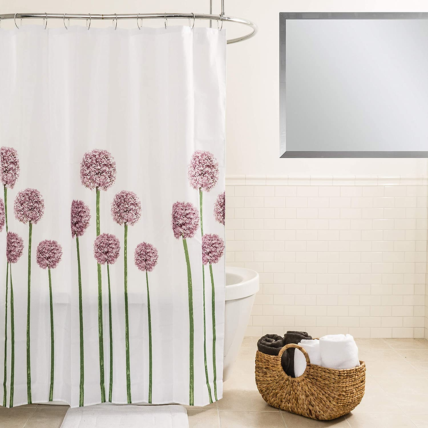 Amazon Splash Home Allium Polyester Fabric Shower Curtain 70 X 72 Lavender Kitchen